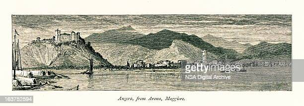 angera, italy i antique european illustrations - village stock illustrations