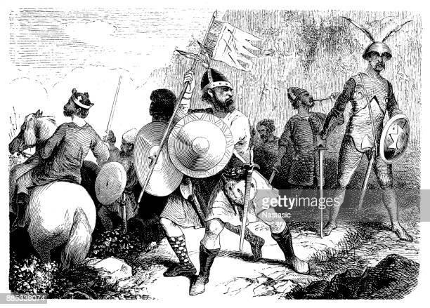 illustrations, cliparts, dessins animés et icônes de guerriers de l'anglo-saxon, xe siècle - estampe japonaise