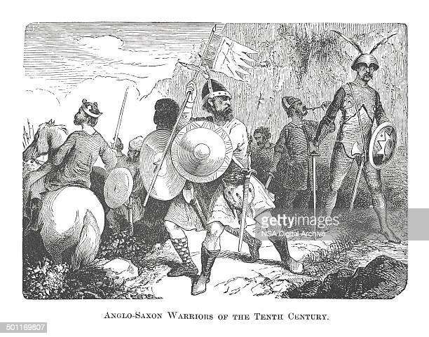 Anglo-Saxon Warriors of the Tenth Century (antique engraving)
