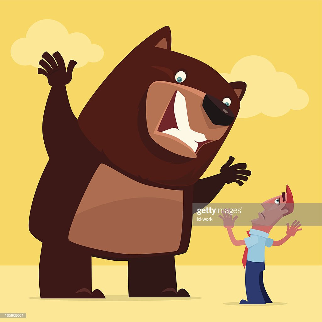angry bear and businessman