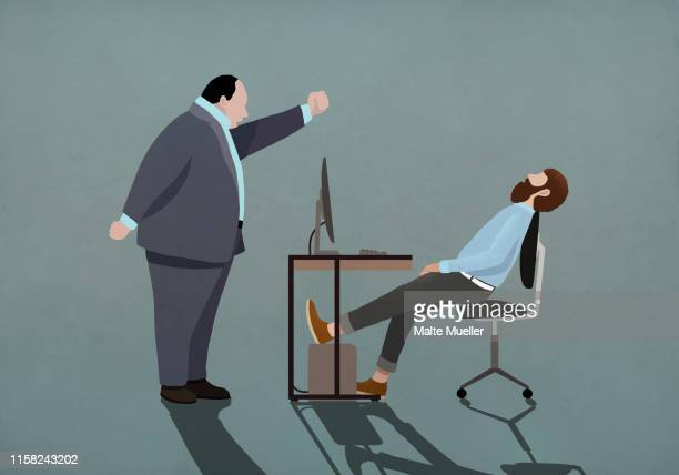 angry boss shaking fist at sleeping businessman in office - office stock illustrations
