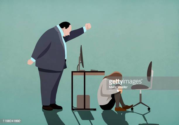 angry businessman threatening businesswoman crouched under desk - image technique stock illustrations