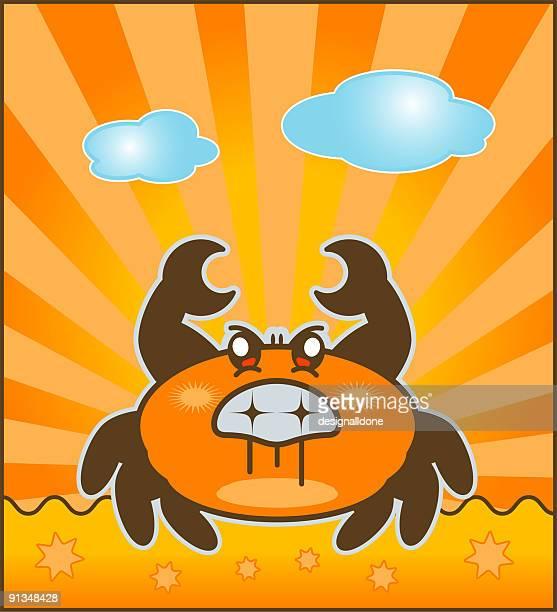 angry crab - animal saliva stock illustrations, clip art, cartoons, & icons