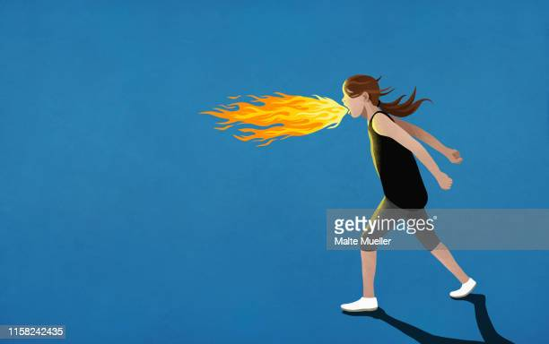 illustrazioni stock, clip art, cartoni animati e icone di tendenza di angry girl breathing fire - furioso