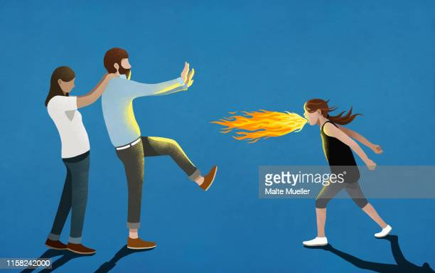 angry girl breathing fire toward parents - family stock illustrations