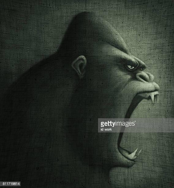 angry gorilla - chimpanzee stock illustrations, clip art, cartoons, & icons