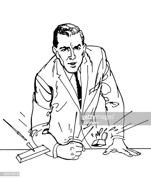 Angry Man Pounding Desk