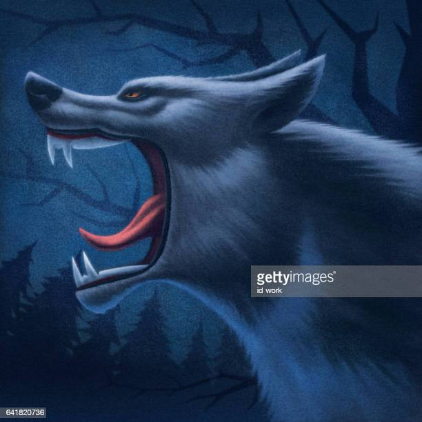 angry wolf howling