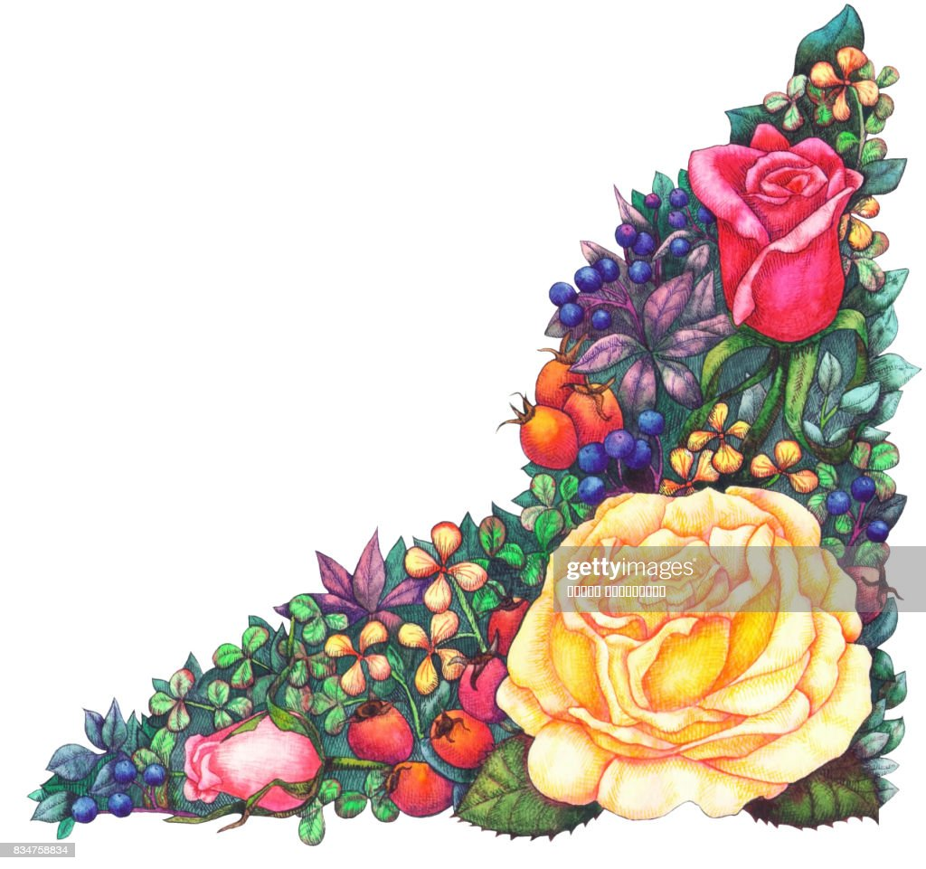 Angular Flower Arrangement With Yellow Rose Stock Illustration