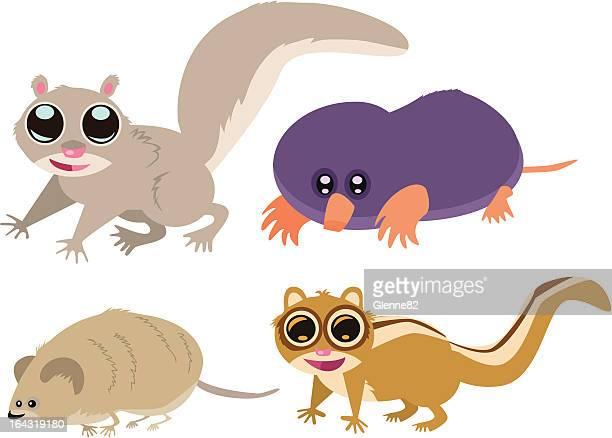 animal page: squirrel, mole, vole, chipmunk - chipmunk stock illustrations