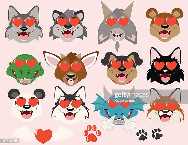 tiere in love emoticons - fuchspfote stock-grafiken, -clipart, -cartoons und -symbole