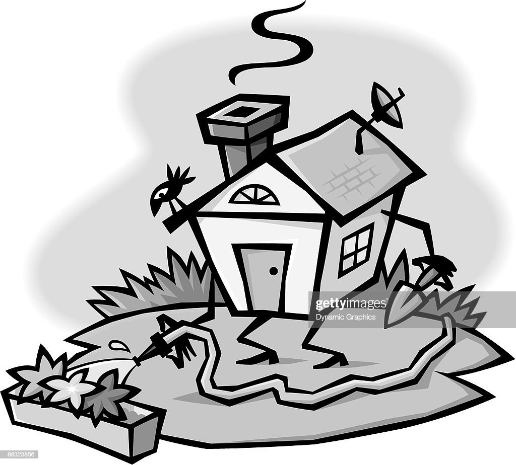 Animated House Watering Flowers Grayscale Vector Art | Getty Images for Animated House Black And White  575lpg