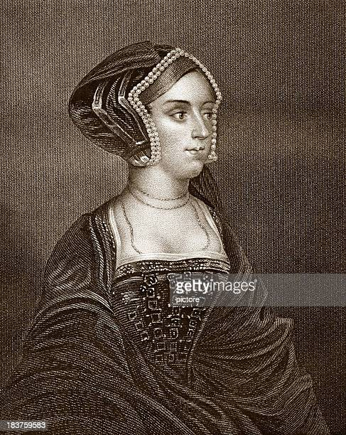 anne boleyn by hans holbein (sepia toned) - anne boleyn stock illustrations