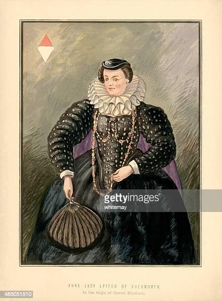 anne, lady lytton of knebworth, reign of queen elizabeth i - neck ruff stock illustrations