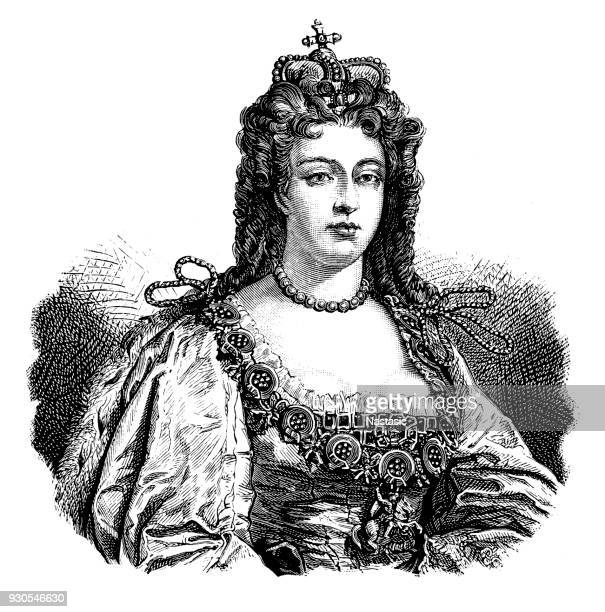 anne, queen of england - queen royal person stock illustrations