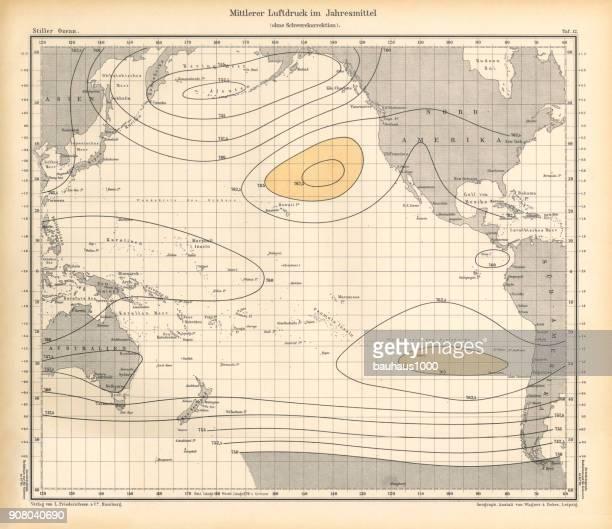 Annual Mean Air Pressure Chart, Pacific Ocean, German Antique Victorian Engraving, 1896