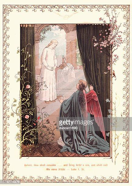 annunciation. bring forth a son, shalt call his name jesus - annunciation stock illustrations, clip art, cartoons, & icons
