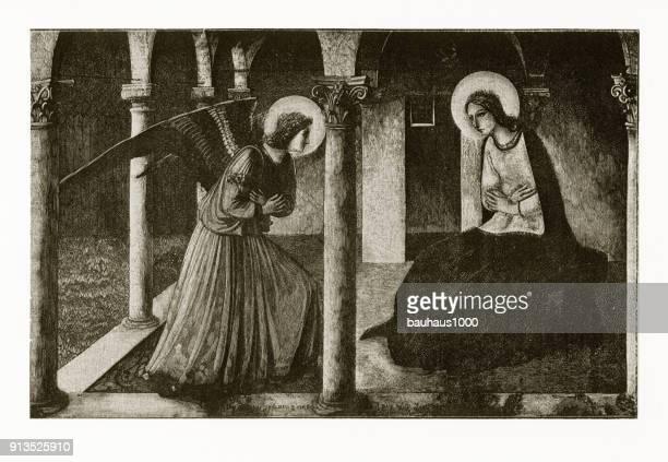 Aankondiging van de Maagd Maria christelijke symboliek gravure