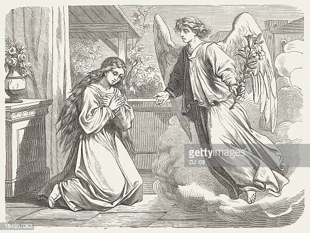 annunciation to mary (luke 1, 26-38), wood engraving, published 1877 - annunciation stock illustrations