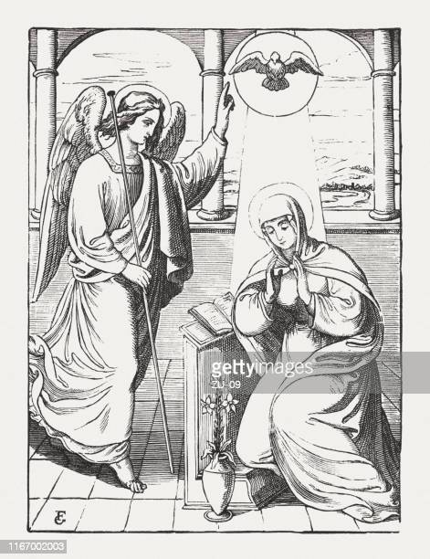 annunciation to the blessed virgin mary, wood engraving, published 1850 - annunciation stock illustrations