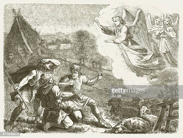 annunciation to the shepherds (luke 2), wood engraving, published 1877 - annunciation stock illustrations, clip art, cartoons, & icons