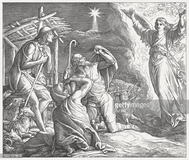 annunciation to the shepherds, wood engraving, published in 1890 - annunciation stock illustrations, clip art, cartoons, & icons