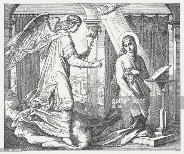 annunciation (luke 1, 26-31), wood engraving, published in 1890 - annunciation stock illustrations, clip art, cartoons, & icons
