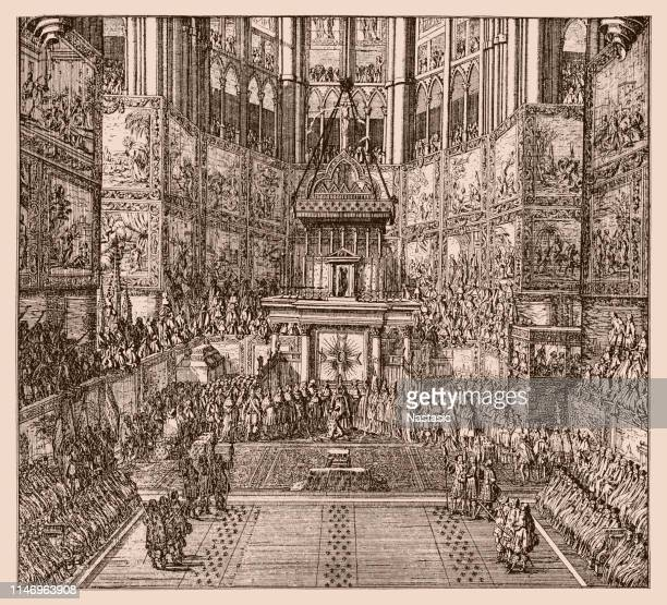 anointing of louis xiv in the cathedral of reims on june 7, 1654 - louis xiv of france stock illustrations, clip art, cartoons, & icons
