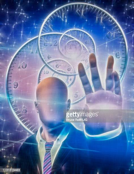 anonymous figure radiates light from hand. time spirals. - eternity stock illustrations