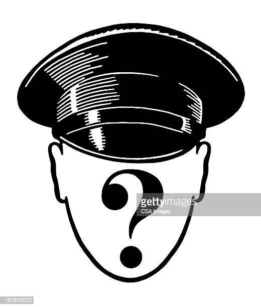 anonymous man in hat - uniform stock illustrations