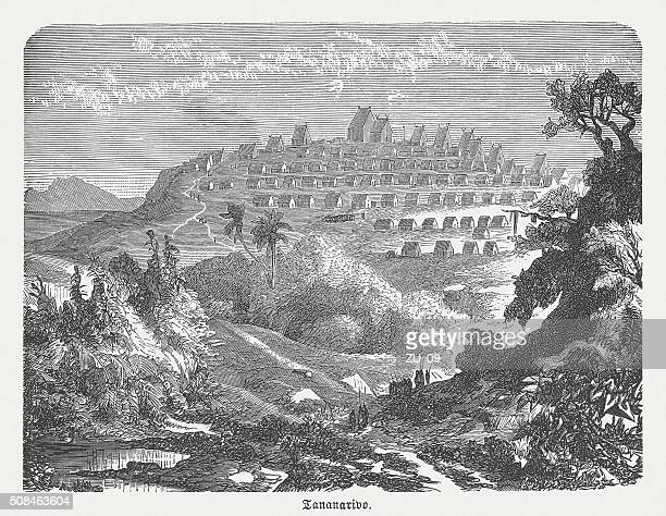 antananarivo, madagascar, wood engraving, published in 1882 - antananarivo stock illustrations, clip art, cartoons, & icons