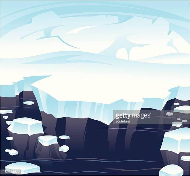 antarctic landscape - antarctica stock illustrations, clip art, cartoons, & icons