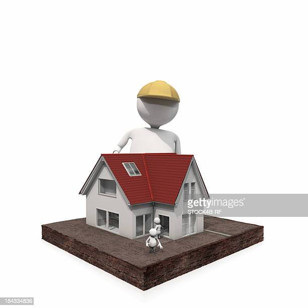 Anthropomorphic figure at a house with small figures, CGI