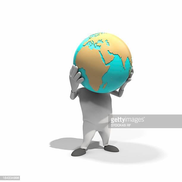 anthropomorphic figure lifting globe, cgi - world at your fingertips stock illustrations