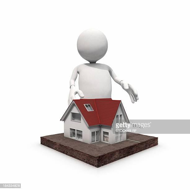 Anthropomorphic figure standing at home, CGI