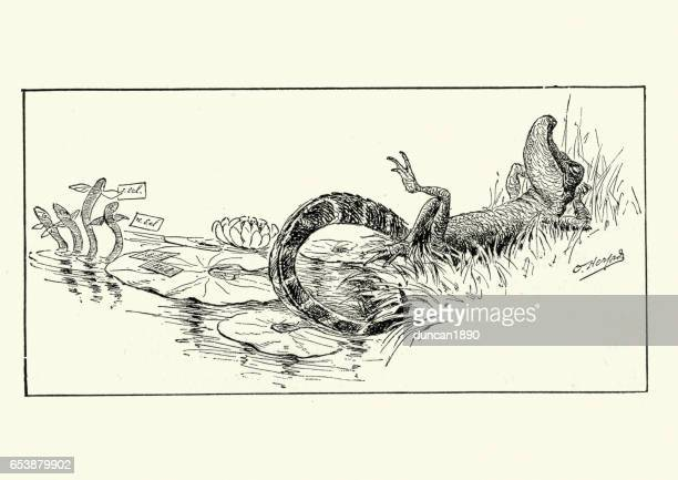 illustrations, cliparts, dessins animés et icônes de anthropomorphisme - crocodile relaxant - crocodile