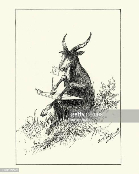 Anthropomorphisme - chèvre, écrivant une lettre