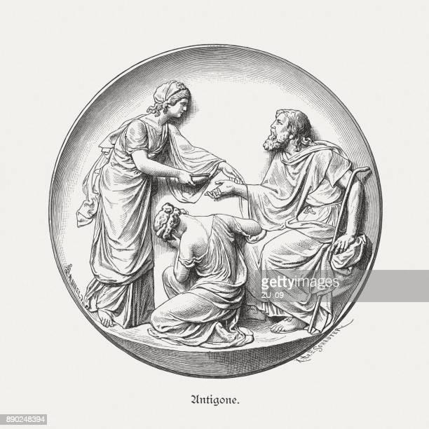 antigone, ismene, and oedipus, greek mythology, wood engraving, published 1879 - sophocles stock illustrations