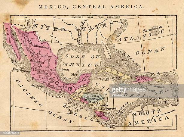 Antique 1867 Map, Mexico, Central America, Geography, World History, Cartography