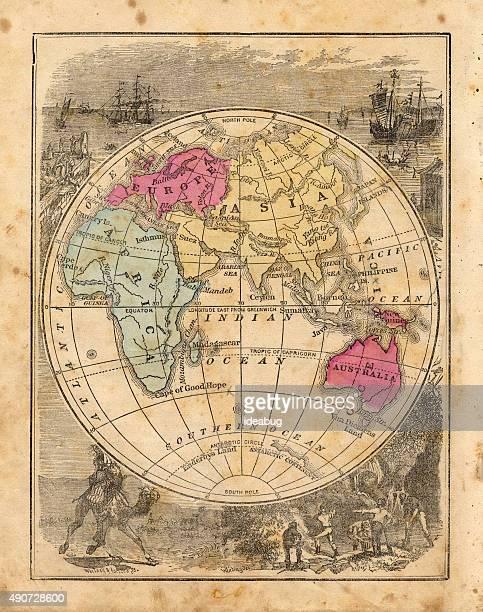 illustrations, cliparts, dessins animés et icônes de antique 1867 carte de hémisphère est, d'histoire, de géographie, de cartographie - hémisphère