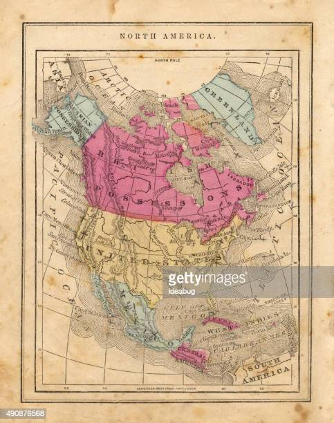 Antique 1867 Map of North America, Geography, World History, Cartography