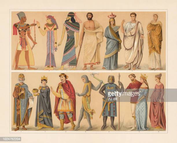 antique and medieval costumes, chromolithograph, published in 1897 - circa 14th century stock illustrations, clip art, cartoons, & icons