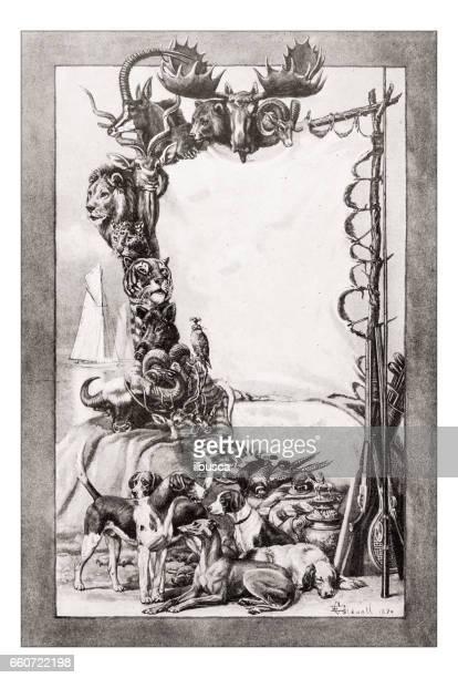 antique animals illustration: hunting trophy - dead dog stock illustrations