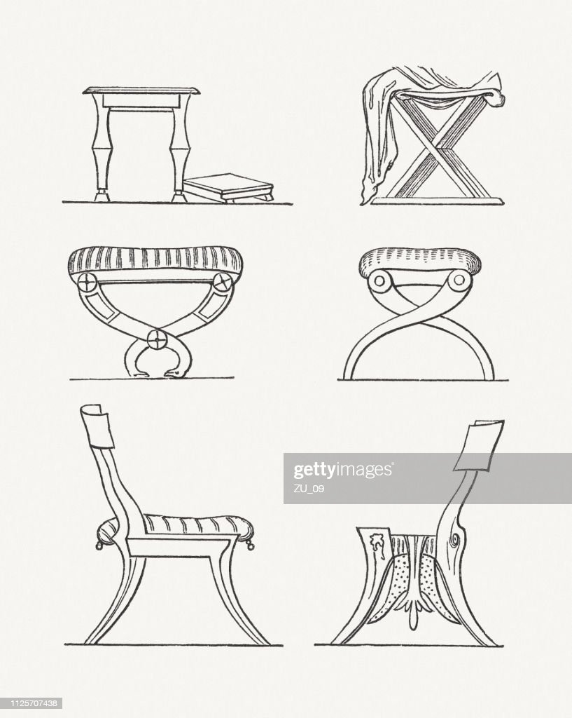 Antique Armchairs And Chairs Wood Engravings Published In 1897