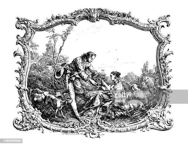 antique art engraving illustration: couple - 1900 1909 stock illustrations