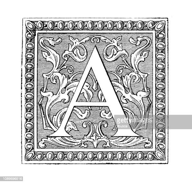 antique art engraving illustration: ornate letter a - letter a stock illustrations