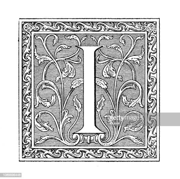 antique art engraving illustration: ornate letter i - letter i stock illustrations