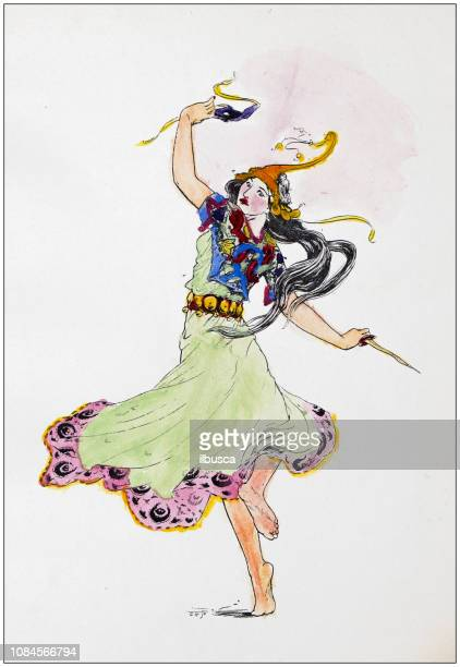 Antique art nouveau liberty engraving illustration from Arabian Nights fable book: Dancer with knife