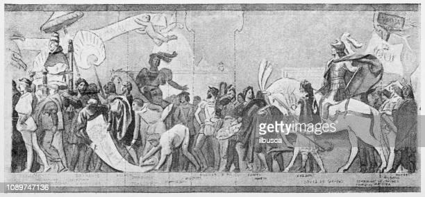 antique art painting illustration - religious occupation stock illustrations