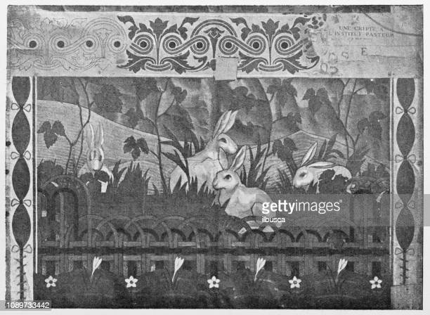 Antique art painting illustration: Mosaic on Pasteur's tomb by Charles Girault